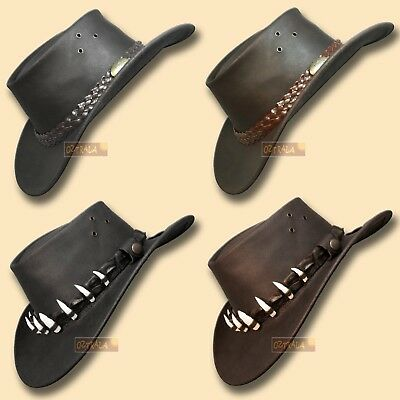 ?oZtrALa? Oil Leather Hat CROCODILE Band Mens Women Outback DUNDEE Cowboy AUSSIE