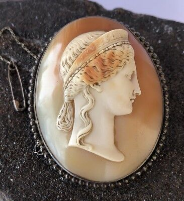 Huge Antique Cameo Sterling Silver Italian - Roman Hand Carved Shell Brooch Pin