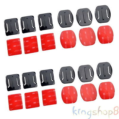 12Pcs Curved+ Flat 3M Adhesive Mounts For Gopro Hero 3+3 2 1 Hot Sell Free Ship