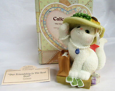 Calico Kittens ~ Our Friendship is the Real Deal ~ Resin Cat Figurine
