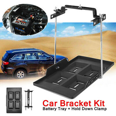Metal Car Storage Battery Holder Adjustable Stabilizer Tray+Hold Down Clamp Kit