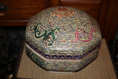 Large Chinese Octagonal Lidded Covered Bowl-Dragons-Porcelain Pottery-Marked