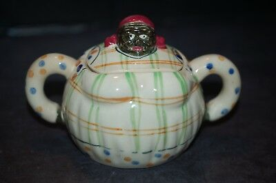 Super Rare Black Mammy Americana Plaid Sugar Bowl