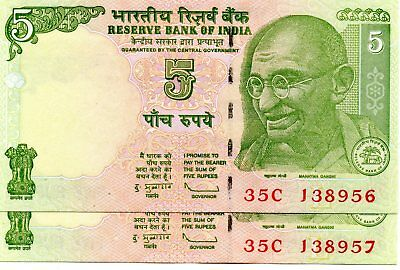 INDIA 5 Rupees 2009 P88Ae Letter L Sign. 89 x 2 Consecutive aUNC Banknotes
