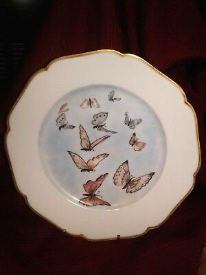 Limoges Plate BUTTERFLY gold gilt hand painted multi colors France H&C/L