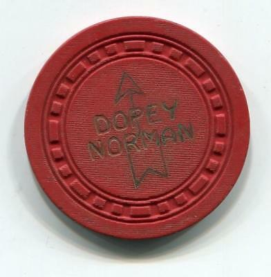 """Tahoe Nv DOPEY NORMAN""""S 25¢ Casino Chip sqsqrect 1953 CR#N76330low book $125"""