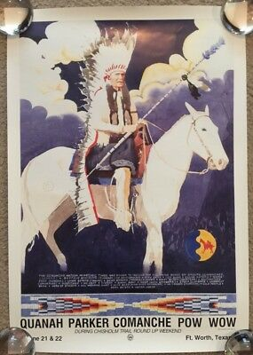 Quanah Parker Comanche Pow Wow Poster Fort Worth Texas Chisholm Trail Round-Up