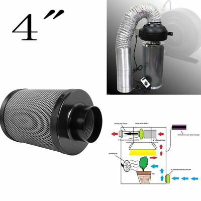 "4"" Inch Carbon Charcoal Inline Fan Filter Odor Control Scrubber Grow Black good"