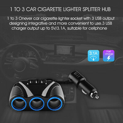 Car Cigarette Lighter Socket Splitter Hub Power Adapter 3.1A 3 USB 3 Way 12V-24V