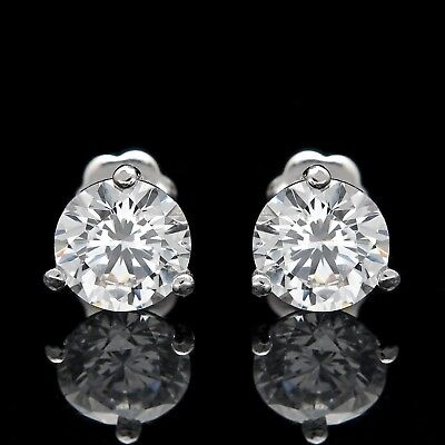 2.00Ct Created Diamond Martini Earrings 14K White Gold Screwback Solitaire Studs