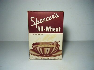 Vintage 1930's Spencer's All-Wheat Old Store Cereal Box - Burns TN Empty Nice