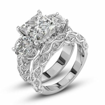 Certified 5.50 Ct White Princess Diamond Engagement Wedding Ring 14K White Gold
