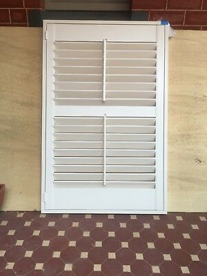 Timber Plantation Shutter - Antique White - Framed - Excellent Condition
