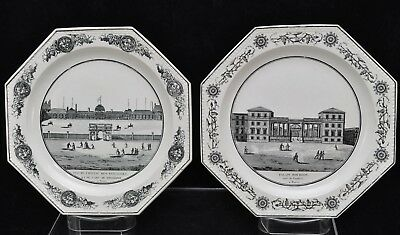 Pair of Antique French Faience Fine Plates Legros d'Ainsy 1820