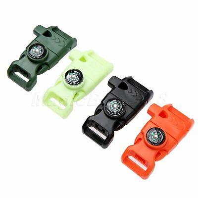 Protable Flint Whistle Paracord Buckle Striking Compass Outdoor Survival Tool