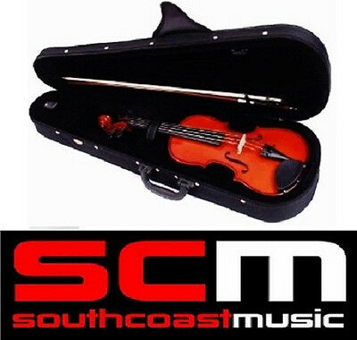 Valencia Sv400 1/8 Size Solid Carved Top Student Violin Outfit Brand New Set Up