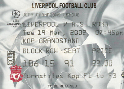Biglietto ticket Liverpool  Roma  Uefa Champions League  2001 2002