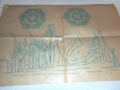 Vintage Embroidery Iron on Transfer - Needle and Home Vol.1V - Swan / Flowers