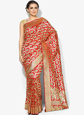 Wedding Embroidered Ethnic Wear Bollywood Styles Red Cotton Banarasi silk PTE60