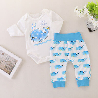 2PCS Newborn Infant Baby Boy Girl Outfits Clothes Romper Bodysuit+Long Pants Set