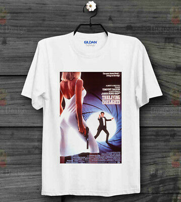 James Bond 007 The Living Daylights On the Edge Movie Poster White T Shirt   B12