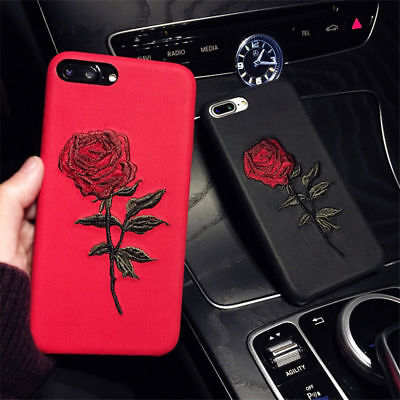 Girl's Rose Embroidery Shockproof Phone Case Back Cover for iPhone X 6 8 7 Plus