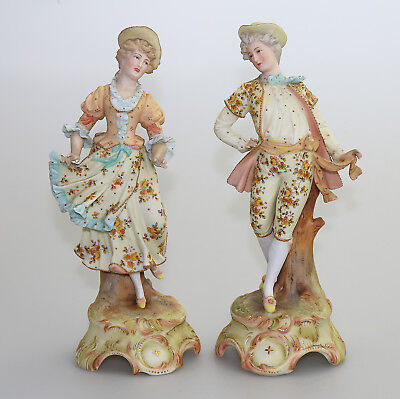Antique European Porcelain A good pair of Bisque painted Figures C.1890
