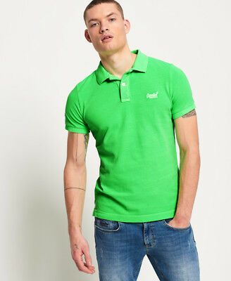 New Mens Superdry Vintage Destroyed Pique Polo Shirt Surge Green
