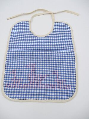 Vintage Baby Bib Blue Check Gingham with Pink Cross Stitched Ducks 1960s