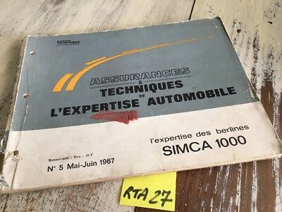 Simca 1000 Revue Technique expertise Automobile RTA 1967 ETAI