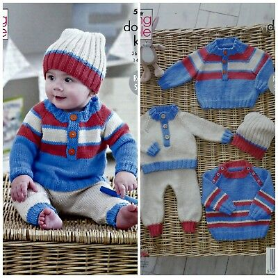 2c28ee2b4 KNITTING PATTERN BABY Jumpers Trousers   Hat Cherish DK King Cole ...