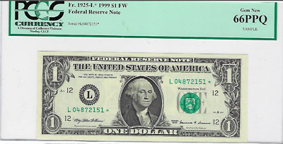 1999 Federal Reserve PCGS Currency Sample 66 PPQ Superb Gem New STAR NOTE