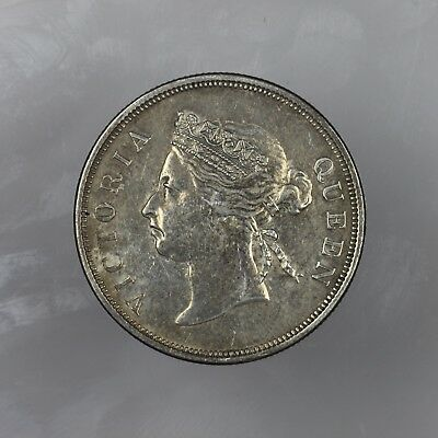1899 British Straits Settlements Silver 50 Fifty Cents Queen Victoria