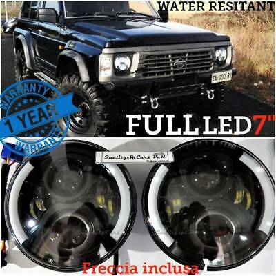 Coppia Fari LED Nissan Patrol toyota land cruiser lj f 7'' ANGEL EYES H4 OMOLOGA