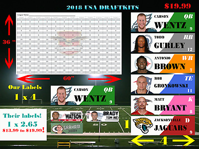 2018 Fantasy Football Draft Kit Large 4 inch color labels 5 X 3 Ft 12 Team board