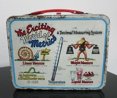 VINTAGE LUNCH BOX & THERMOS_The Enciting World of Metrics_USA 1976_Alladin_Metal
