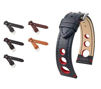 "HIRSCH Buffalo Calfskin Watch Band ""Rally"", 18-24 mm, 3 colors, new!"