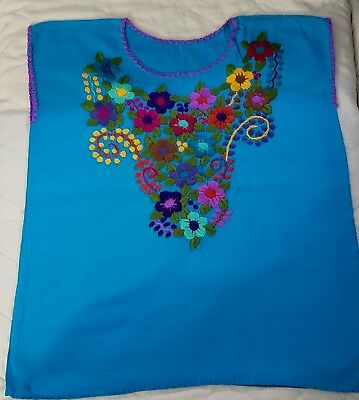 Light Blue embroidered mexican blouse handmade Chiapas ONESIZE fast shipping NEW