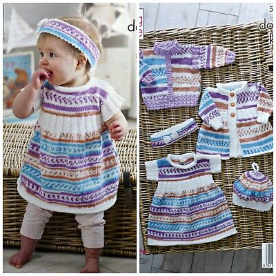 68719ad4dfe9 KNITTING PATTERN BABY Cardigan Dress Coat Hat Headband Cherish DK ...