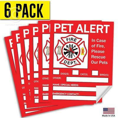 "Pet Alert Safety Fire Rescue Sticker 5""X 4"" 6 Pack Save Our Pets Emergency Decal"