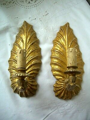 Carved Gilt Wooden Candle Sconces Wall Mounted