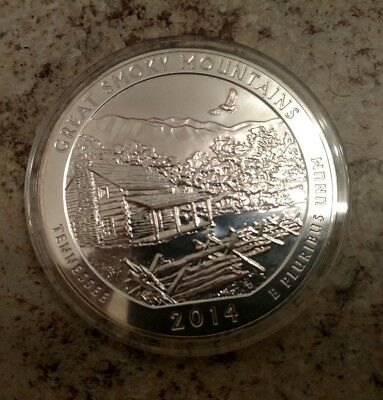 2014 ATB Great Smoky Mountains 5oz Silver Coin