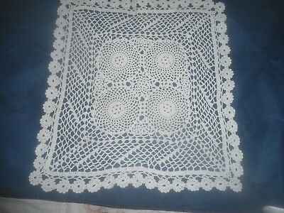 """A Very Pretty White Crocheted Doily Or Table Centre 17"""" X 16"""""""
