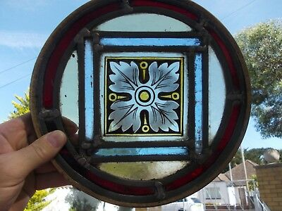 antique stained glass panel FLOWER age unknown PRICE INCLUDES UK POST