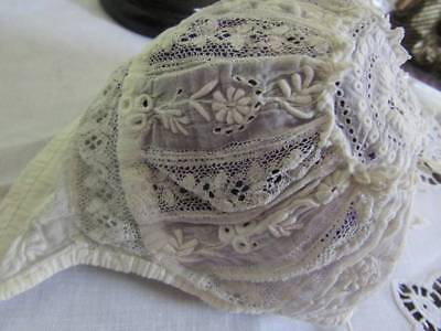 Beautiful Antique tiny Baby Doll Bonnet White Embroidery & Lace