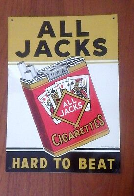 Vintage ALL JACKS Cigarettes Advertising Sign Tin Nice Strong Colors