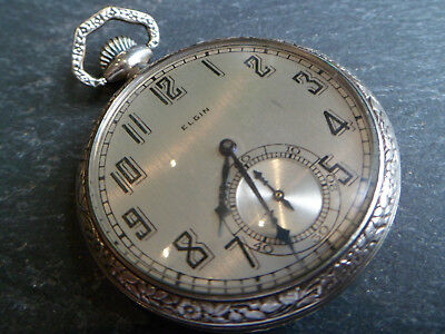 Antique 14ct White Rolled Gold Elgin USA Pocket Watch - Working