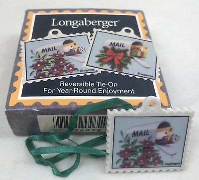 Longaberger 1999 Reversible Stamp Shaped Mail Basket Tie On NIB