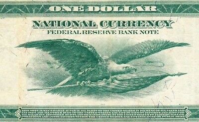 1918 $1 New York ((Green Eagle)) Large Size National Currency Note VF