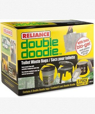 Reliance Double Doodie Toilet Waste Bags with Avec Bio Gel - 6 Pack